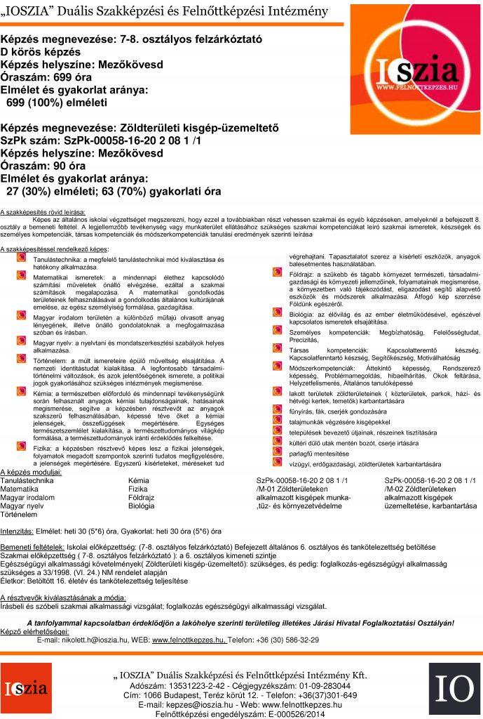 7-8. osztályos felzárkóztató képzés - Zöldterületi kisgép-üzemeltető - Mezőkövesd - IOSZIA felnottkepzes.hu