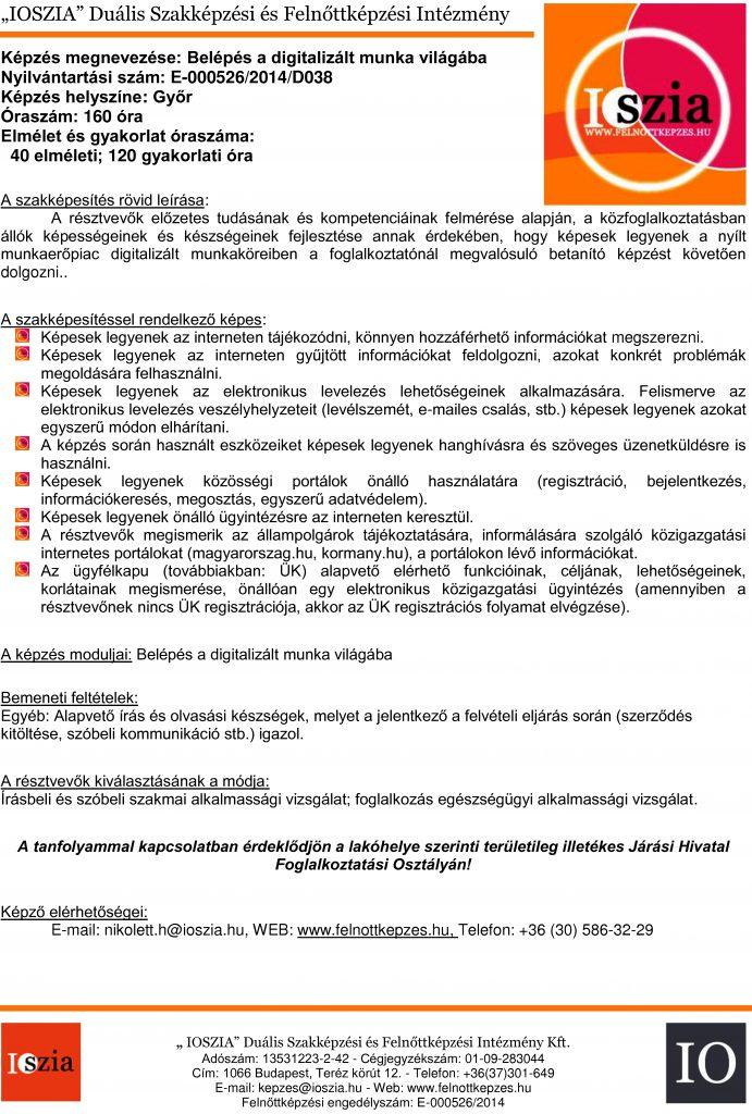 Belépés a digitalizált munka világába - Győr - Felnőttképzés - IOSZIA