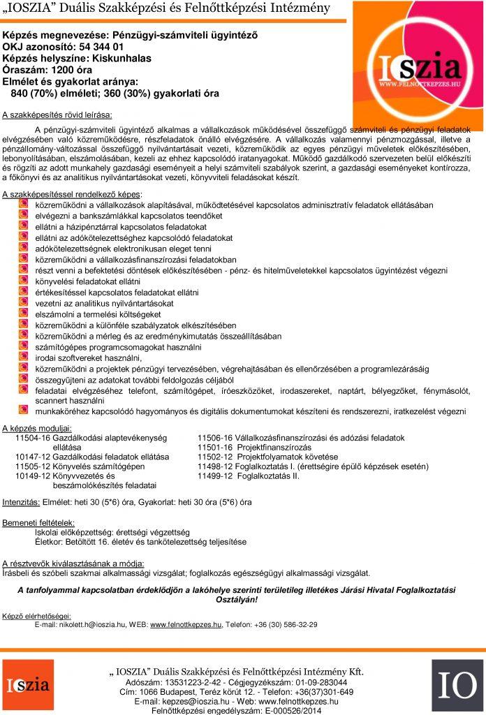 Pénzügyi-számviteli ügyintéző - Kiskunhalas - IOSZIA felnőttképzés
