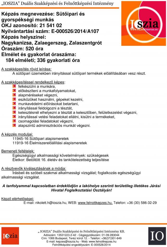 Sütőipari és gyorspékségi munkás OKJ - Nagykanizsa - Zalaszentgrót - Zalaegerszeg - felnottkepzes.hu - Felnőttképzés - IOSZIA