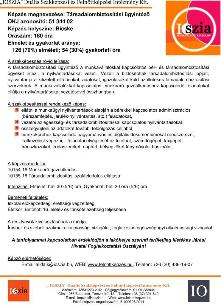 Társadalombiztosítási ügyintéző - Bicske - IOSZIA felnőttképzés