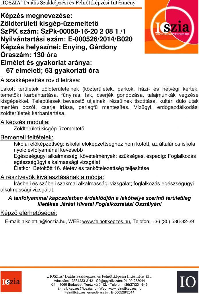 Zöldterületi kisgép-üzemeltető - Enying - Gárdony - felnottkepzes.hu - Felnőttképzés - IOSZIA