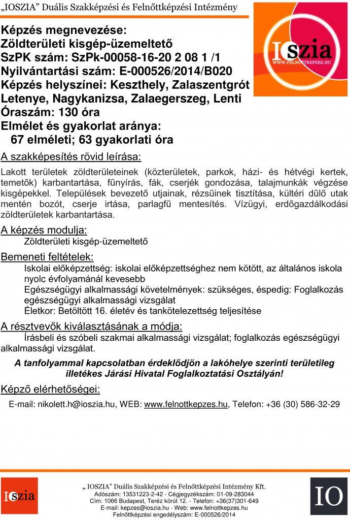 Zöldterületi kisgép-üzemeltető - Keszthely - Lenti - Letenye - Nagykanizsa - Zalaegerszeg - Zalaszentgrót - felnottkepzes.hu - Felnőttképzés - IOSZIA